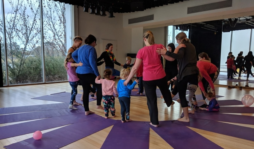 Looking for Family Yoga in Canberra? Then join Shine Om for our monthly family yoga classes held at Belconnen Arts Centre.